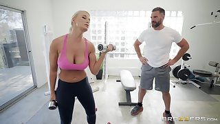 London Well up enjoys the cane sex at the gym with her horny trainer