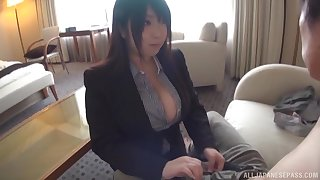 Sensual titjob added to a blowjob from a Japanese secretary with huge special