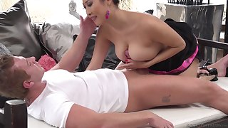 Bombshell Asian MILF Sharon Lee gives sloppy head and swallows a load