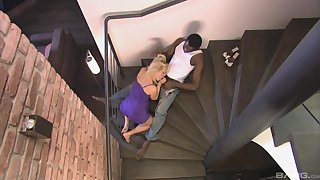 Katy Sweet deals the black monster on the stairs