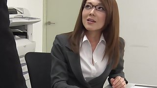 Too tired be worthwhile for office work Japanese lassie Mao Saitou plays with her shaved pussy