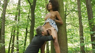 Wild interracial sex between a horn-mad guy coupled with ebony Luna Corazon