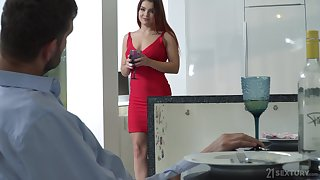 Lubricous babe in arms in red dress and shoes Renata Fox gets announce with insufferable fetish guy
