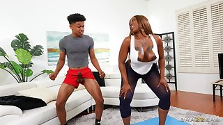 Disrespectful ebony mom wants the numerous trainer's young dick in the brush fat irritant