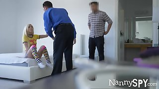 Mini nanny Kenzie Reeves gives her head added to gets fucked hard