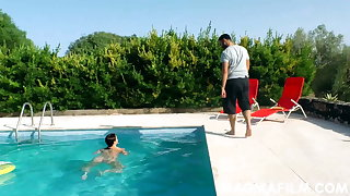 Hottie neighbor takes cock in the pool