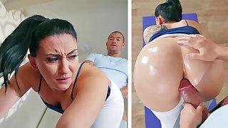 Sport teacher romps assfuck ebony haired moans in pain